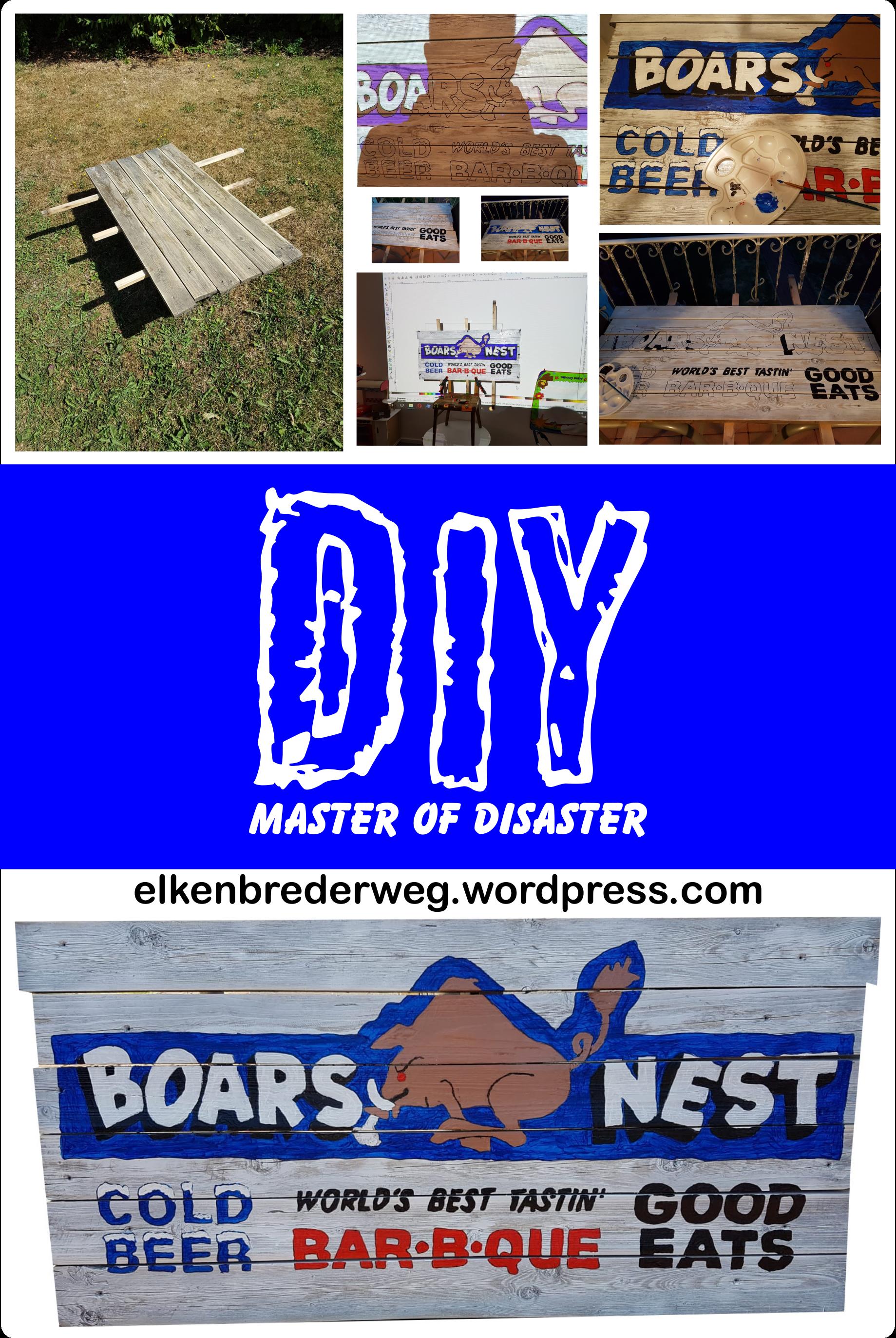 DIY Barschild Boars Nest für die Außenküche oder Außenbar im Garten - Barschild selber bauen