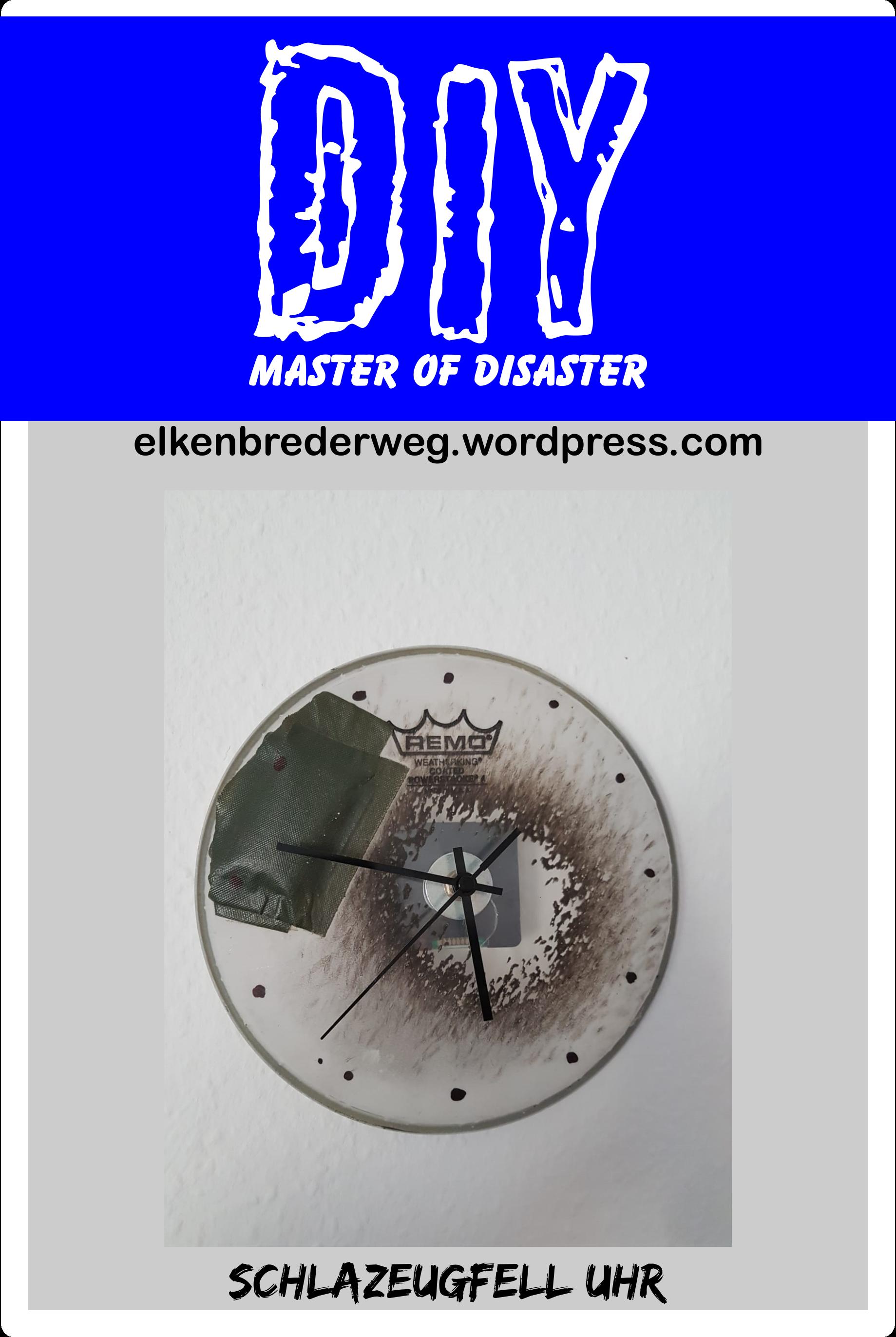 DIY Master of Disaster Uhr aus altem Schlagzeugfell, Für Probenraum speziell für Drummer und Schlagzeuger