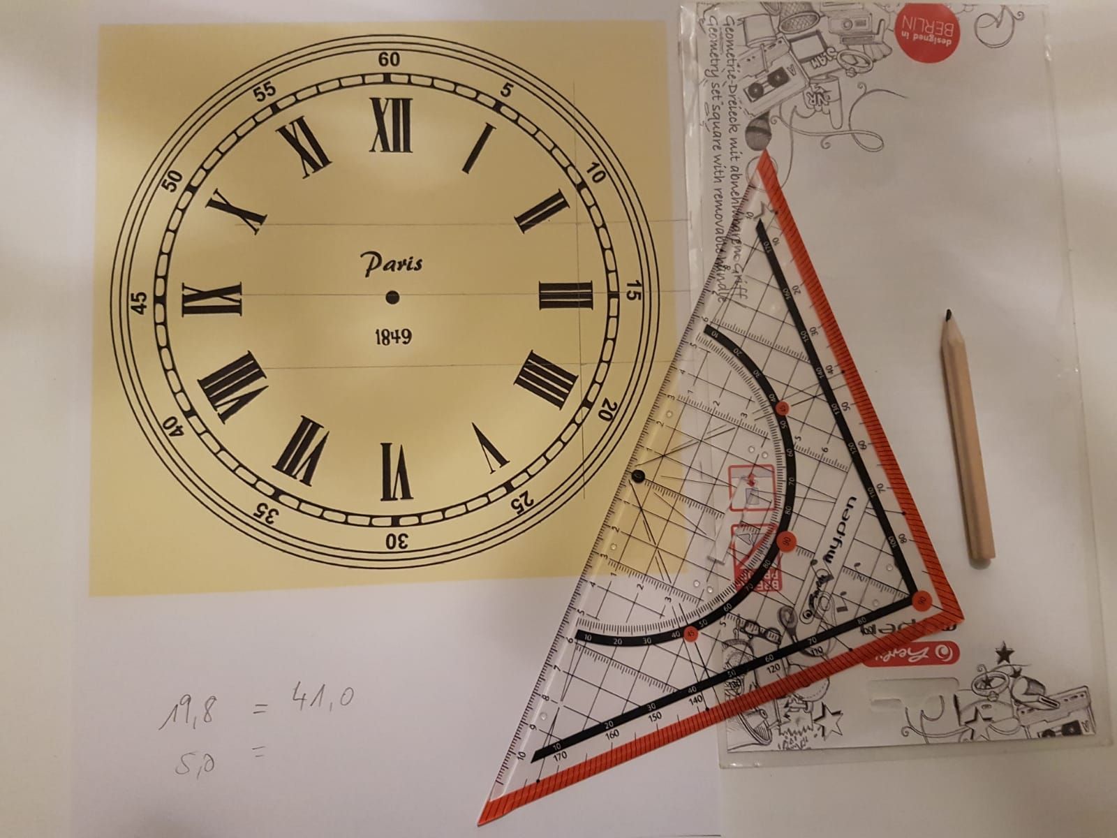 Der Bildausschnitt für die Wanduhr wird ausgewählt und für die Größe des Brett berechnet.