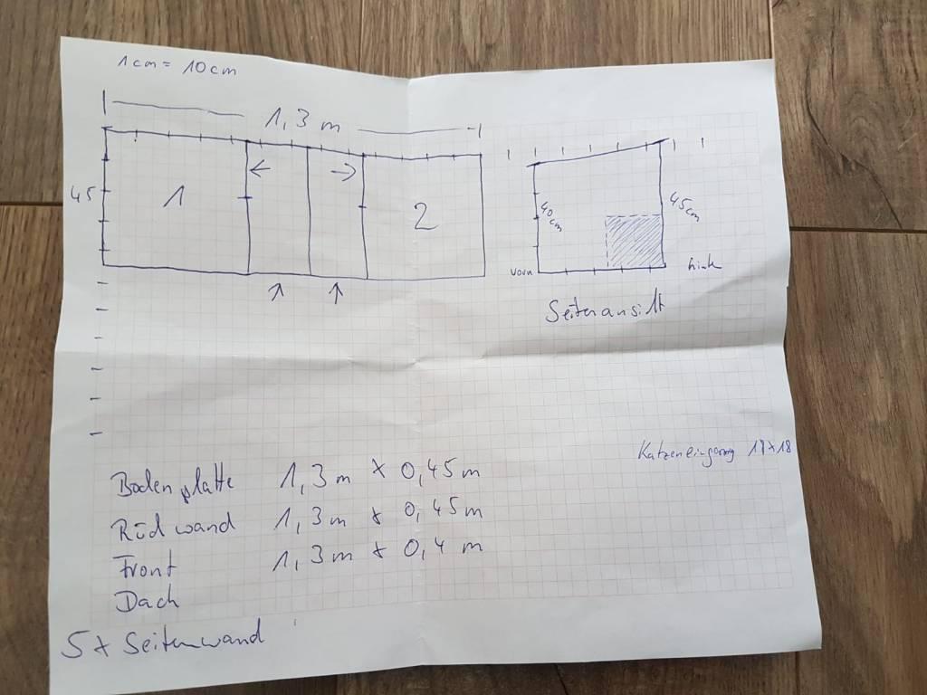Plan Anleitung ein Katzenhaus selber bauen für 2 Katzen - DIY Blog  Elkenbrederweg Bad Salzuflen bei Bielefeld Ostwestfalen Lippe Zeichnung Bilder Katzenhaus Selbstbau