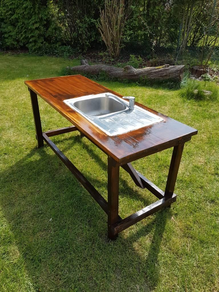 Matschküche / Schlammküche  aus altem Holz selber bauen