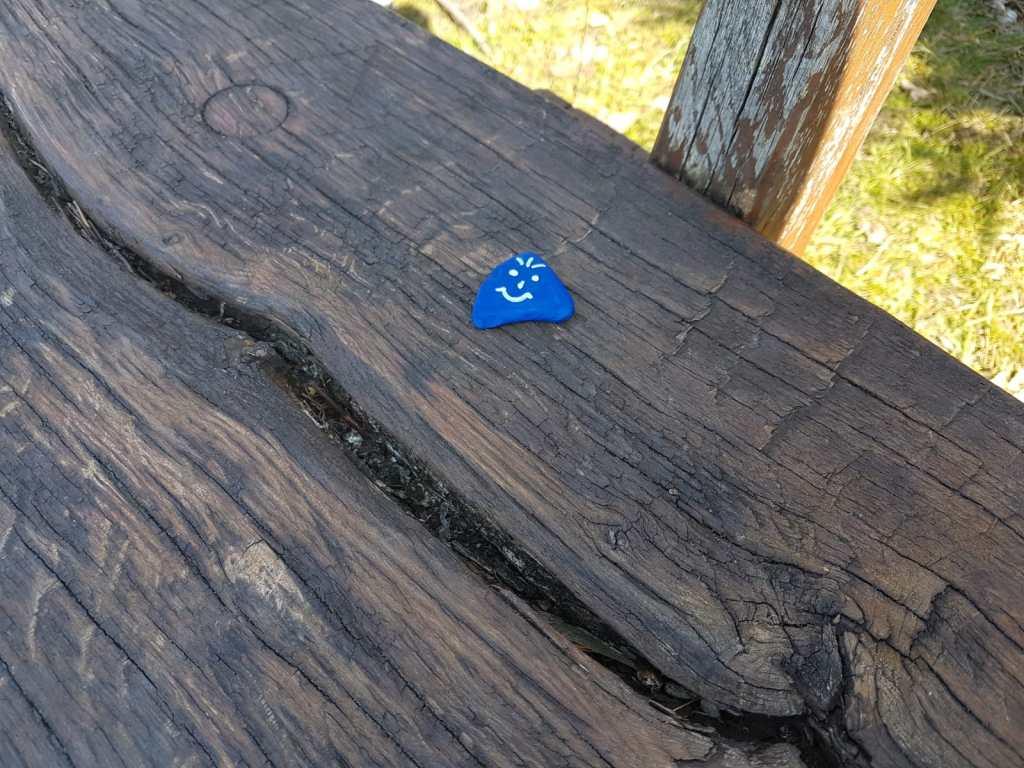 bemalter Stein auf einer Bank im Wald von Bad Salzuflen